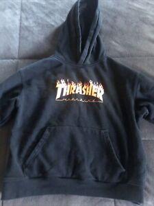 Kids Thrasher Flames Logo Skateboard Magazine Hoodie Original Thrasher SanFran