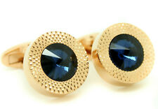 Rose Gold Cufflinks Round Stunning Bright Blue Stone Circular Men's Cuff Links