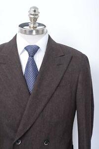 NWT CARUSO Brown Herringbone Wool Cashmere Double Breasted Sport Coat 40 (EU 50)