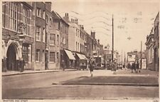 London Postcard. Brentford High Street, Hounslow. Trams! Busy!  1933