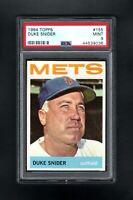 1964 TOPPS #155 DUKE SNIDER HOF NEW YORK METS PSA 9 MINT++CENTERED!