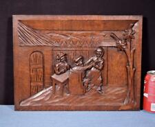 *French Antique Carved Panel Solid Oak Wood with People Drinking and Dancing