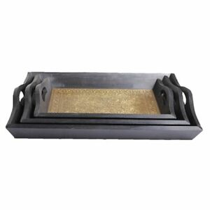 HANDCRAFTED WOODEN AND BRASS SNACK SERVING TRAY SET OF 3 - FOR TABLE DECOR