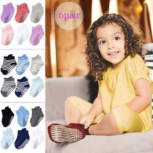 6 Pair Winter Baby Girl Boy Kid Toddler Anti-Slip Knitted Socks Warm Ankle Sock