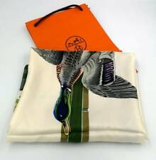 """VINTAGE NEW FRENCH SIGNED HERMES PARIS SILK 35""""x35"""" CARRE SCARF - HUNTING DUCK"""
