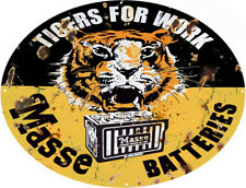 Tiger Masse Batteries Reproduction Motor Oil Metal Sign - 26 x 34 Oval RVG107-34