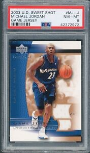 2003 Upper Deck Sweet Shot Michael Jordan GU Jersey Washington Wizards PSA 8 NM