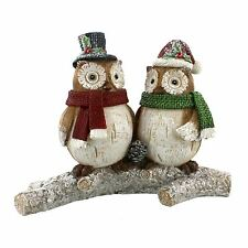 Hand Painted Festive Figurine Two Owls on a Branch Christmas Decoration
