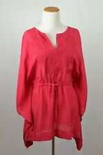 Pure DKNY Red Poncho Flowing Wing 100% Silk Embroidered unique Top XS/Small