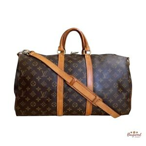 Authentic Louis Vuitton Brown Monogram Canvas Leather Keepall Bandouliere 45 Bag