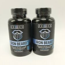 Zhzou Iron Beard Beard And Hair Growth Formula 120 Capsules 2 New Bottles