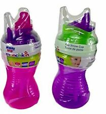 Munchkin Mighty Grip Flip Straw Cup Spill Proof & Leak Proof 10 oz 2 cups