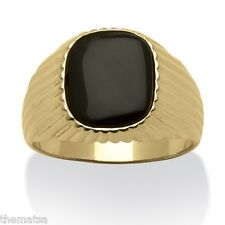 14K GOLD PLATED BLACK MENS CARVED BAND   ONYX RING ALL SIZES 8 9 10 11 12 13