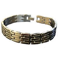 Bracciale in acciaio inox da uomo braccialetto catena maglia piatta lungo 21 cm