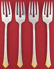 """Set of 4 CUBE Oneida GOLDEN DAMASK ROSE Heirloom USA Stainless SALAD FORKS 6.75"""""""
