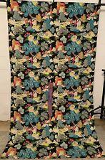 Vintage Cotton Barkcloth Curtain Decorating Fabric 50s Markwood Asian 48W 2.4yds