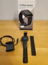 Fitbit Versa 2 Health & Fitness Smartwatch, Black, w/ charger, L&S bands, box