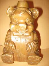 Vintage wooden Bear hand carved Light Brown wood