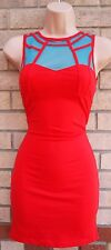 MOTEL ROCKS RED BLUE MESH CAGED BODYCON TUBE PENCIL PARTY TEA DRESS XS 6