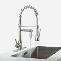 Commercial Brushed Nickel Single Handle Pull Down Sprayer Spring Kitchen Faucet