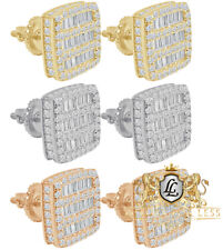 14K Gold Finish Baguette Icy Square Prong .925 Silver Screw Back Earrings 10mm