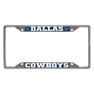 Fanmats NFL Dallas Cowboys Chrome Metal License Plate Frame Delivery 2-4 Days