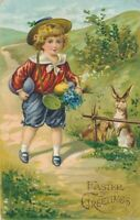 EASTER - Rabbits Watching Child On Path - 1908