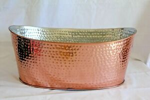 Storehouse Hammered Copper Drinks Tub with Cut-Out Handles Made in India