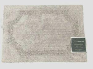 Laura Ashley Light Gray REVERSIBLE Cotton Bath Rug 17 x 24 Tablet NWT