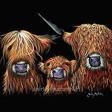 HIGHLAND COW PRINTS of Original Painting WE 3 COOS ON BLACK by SHIRLEY MACARTHUR