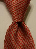 STEFANO RICCI Men's 100% Silk Necktie ITALY Luxury Geometric Red/Gray EUC Rare