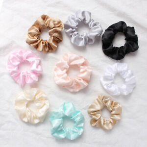 Large Scrunchies Silky Satin Scrunchy Bobble Elastic Hair Tie Rope Ring Ponytail