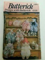 "Butterick Crafts Sewing Pattern 6095 Cat Bunny Clown Block Dolls 21"" Tall Uncut"
