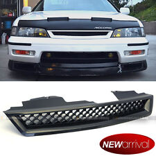 For: 94-97 Accord DX LX EX Glossy Black T-R Style Mesh Front Hood Grill Grille