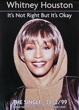 Whitney Houston 1999 It's Not Right But It's Okay Original European Promo Poster