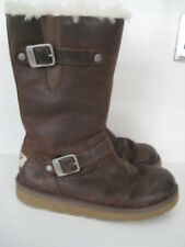 WOMAN GIRL GENUINE UGG KENSINGTON BIKER ZIP SHEEPSKIN LINED LEATHER BUCKLE BOOTS