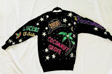 JAW DROPPING VTG.80s SEQUIN BEADED STUDDED BLACK VELVET L.A. HOLLYWOOD SWEATER