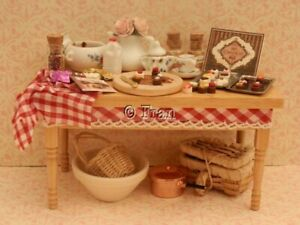 Dolls house food: Busy making homemade chocolates prep table  -By Fran