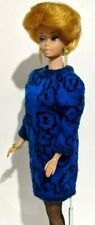 Barbie Doll Dress: 1987 Sweater Soft #4487 Royal Blue Black Floral Knit