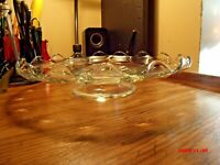 Vintage Indiana Glass Teardrop Clear Low Footed Pedestal Cake Stand