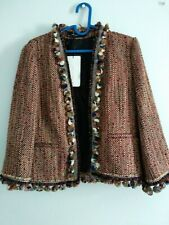 ZARA Red Tweed Boucle Open Front Jacket with Pompom Details Size XS UK 8 NWT