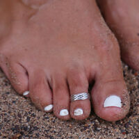 8pcs Elegant Womens 925 Sterling Silver Toe Ring Foot Adjustable Beach Jewelry