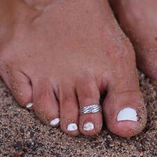 8pcs Elegant Womens 925 Sterling Silver Toe Ring Foot Adjustable Beach Jewelry