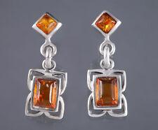 Sterling Silver Baltic Amber Earrings Drop Dangle Cognac Signed 925 Genuine