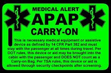 Hi-Viz Green Carry-On APAP  Bag Tag - TSA - CPAP BiPAP APNEA POC