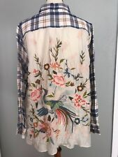 NWT $248 JOHNNY WAS CERETTI EMBROIDERED  BACK BUTTON DOWN SHIRT TOP XL