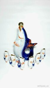 VINTAGE Porcelain Figurine Soviet Fish - Decanter and 6 Cognac Glasses Polonsky