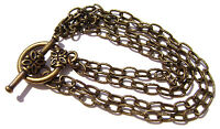Chain Bracelet Rolo Bronze Antiqued Brass Flower Toggle ALL SIZES -  5 or 1 Qty