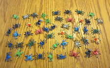 "100 NEW TOY SPIDERS FAKE CREEPY SPIDER HALLOWEEN PROP 2"" SIZE PARTY FAVOR PRANK"