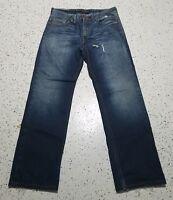 Men's Vigoss Denim Blue Jeans ~ Sz 34W 33L ~ Straight ~ 100% Cotton ~ Distressed